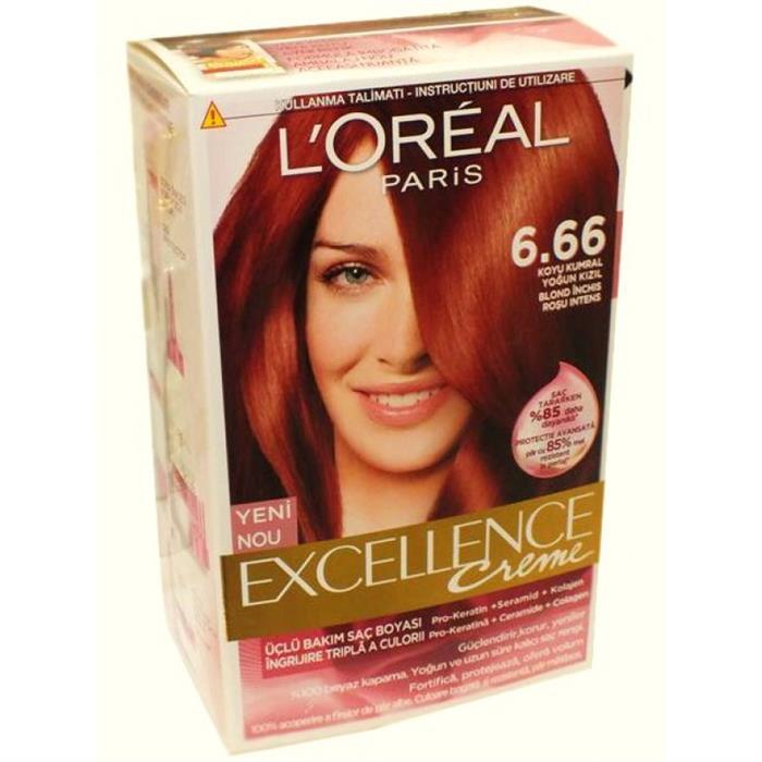 Loreal Excellence Koyu Kumral Yoğun Kızıl Saç Boyası 666